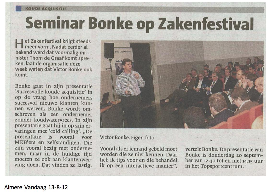 Seminar Bonke op zakenfestival